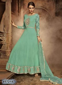 Beautiful Green Coloured Georgette Semi stitched Salwar Suit