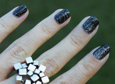 Spiderweb Nails and Metal Mosaic Ring