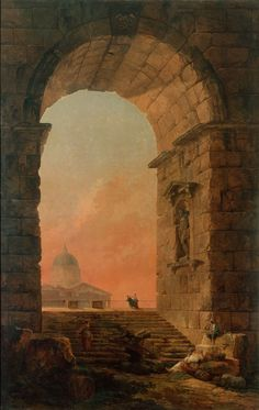 Landscape with an Arch and The Dome of St Peter's in Rome by Hubert Robert - Paintings from Hermitage Museum Fantasy Landscape, Landscape Art, Landscape Paintings, Fantasy Art, Landscapes, Modelos 3d, Kunst Poster, Medieval Life, Traditional Paintings