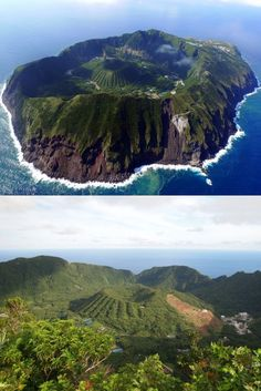 Live Volcano Crater Island, Aogashima Island