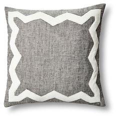 Zigzag 18x18 Linen/Velvet Pillow, Gray $145.00