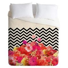 Chevron Flora Lightweight Duvet Cover - Deny Designs®