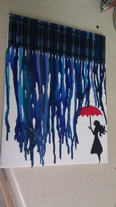 """Blue crayon art - Girl in the rain. A similar idea could be blue ribbon hanging on the window as """"rain"""" during the weather theme. Cute Crafts, Crafts To Do, Crafts For Kids, Arts And Crafts, Diy Crafts, Blue Crayon, Crayon Art, Crayon Ideas, Crayon Canvas"""