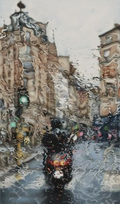 Elizabeth Patterson's Paris Drawings are recent examples of the artist's uncanny ability to depict rainy day scenes with colored pencils and solvent.