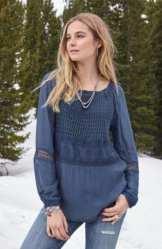 160ed12ecb7 Bellemonde Tunic - Knit and woven tunic with exquisite lace and crochet  overlay. Peasant Blouse