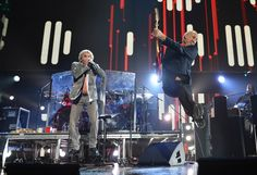 Jumping Pic: Roger Daltrey & Pete Townshend of The Who at '12-12-12'  concert. #jumping