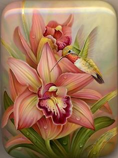 "Russian LACQUER BOX ART - ""Hummingbird"" by Fedoskino painter, Gavrilov Oleg. China Painting, Fabric Painting, Tole Painting, Hummingbird Tattoo, Hummingbird Wallpaper, Flower Art, Beautiful Flowers, Colouring Techniques, Painting Techniques"