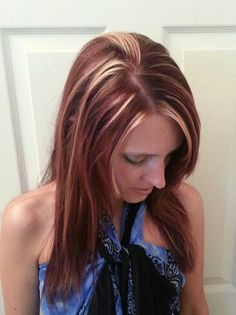 Red hair with blonde highlights -- just say No to this! For real, not the look I'd want.