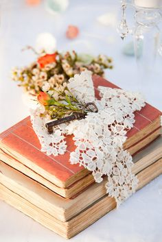 Found on simplythinkshabby.blogspot.it via Tumblr - literary wedding decor