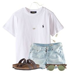 """""""~priceless~"""" by flroasburn ❤ liked on Polyvore featuring H&M, Birkenstock, J.Crew, Kendra Scott and Ray-Ban"""
