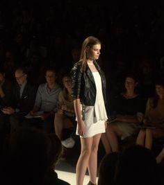 Moto jacket over flowy white dress? Love!