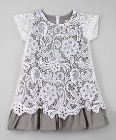 White & Gray Lace Overlay Dress - Infant, Toddler & Girls