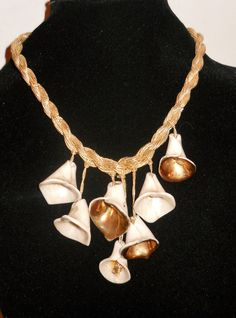 Artisan Necklace Vintage Gilt Ceramic Flower Runway Look - Unique. $12.00, via Etsy.