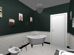 Bagno realizzato in stile retro chic piastrelle da for Piastrelle bianche lucide pavimento