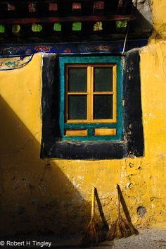 Tibetan Window with Brooms - Artist: Bob Tingley