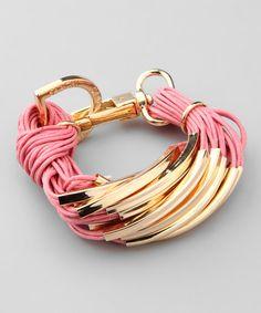 Pink & Gold String Bracelet