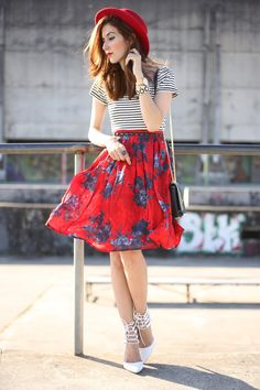 Spring outfit wearing a gorgeous red floral skirt from Slywear and a black and white striped top, because I love to mix prints!