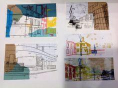Layered collage and monoprints A Level Art Sketchbook, Artist Sketchbook, Udk Berlin, Art Alevel, Ap Studio Art, Gcse Art, Sketchbook Inspiration, Environmental Art, Gravure