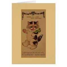 Vintage Cat Christmas Greeting Card