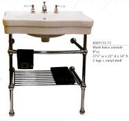 """Belle Epoque Console Sinks    K081133-72 Console Sink with metal legs, 27 1/2"""" wide"""