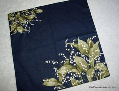 Vintage small cotton scarf White Lilies of by PastPiecesVintage