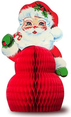 Vintage Cut Santa With Fold Out Honeycomb Belly Perfect For Your Retro