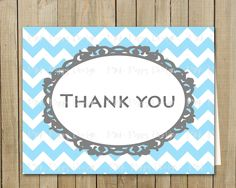 Trendy Blue with Gray Chevron Thank You Card, Birthday, Shower, Graduation, Every Day, Custom Digital File, Printable. Pink Poppy Design, via Etsy.