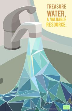 Associating water with diamonds as a precious resource: love it! Pinned by my student Taylor. Posters of Greening Kroeber Art Studios and Bathrooms Water Slogans, Flyer Design, Menu Design, Design Art, Environmental Posters, Water Poster, Water Logo, World Water Day, Water Conservation