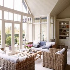 Country conservatory with wicker furniture