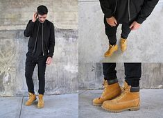 Mattthw D - A.P.C. Croft Bomber Jacker, Fear Of God La Inside/Out Tee, Zanerobe Sureshot Joggers, Timberland 6 Inch Premium Wheat Boots - (Almost) All Black