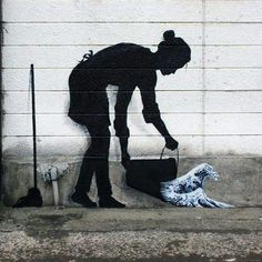 """Silhouette of a cleaning lady pouring out a bucket of Hokusai's iconic """"The Great Wave Off Kanagawa"""" left by Spanish street artist Pejac, appropriately in Kanagawa. Street art done right! Street Art News, Street Art Graffiti, Street Artists, Urban Graffiti, Street Art Artiste, Posca Art, Hongkong, Amazing Street Art, Political Art"""