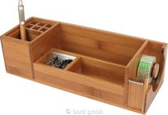 Bartl, Schreibtischständer L mit Klebefilm-Abroller Bambus/Alu | 111089