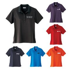 "Customized Women's Short Sleeve Polo Shirts: Available Colors: Black, Dark Plum, Navy, Olympic Blue, Saffron, Vintage Red. Product Size: XS, S, M, L, XL, 2XL. Imprint Area: Centered on Left Chest 3.00"" H x 3.00"" W. Carton Weight: 13.23. Packaging: 50. Material: Micro Polyester. #custompoloshirt #promotionalproduct #womensshortsleeve"