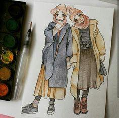 People Illustration, Illustration Art, Hijab Drawing, Drawing Drawing, Sarra Art, Muslim Couple Photography, Islamic Cartoon, Anime Muslim, Hijab Cartoon
