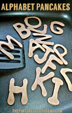pancake for kids Alphabet Pancakes - easy pancake art for kids breakfast -fun food ideas Cooking With Kids Easy, Food Art For Kids, Healthy Meals For Kids, Kids Meals, Healthy Cooking, Healthy Foods, Baby Food Recipes, Snack Recipes, Snacks