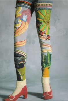 Susanna Lewis Oz Socks – circa 1978  -I really want to make socks like this, but I suck at crochet and can't knit, so I think I'll just make them all applique...