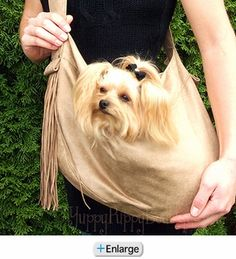SUSAN LANCI CARRIERS - Suede Fringe & Studs Cuddle Carrier Dog Sling Bags!
