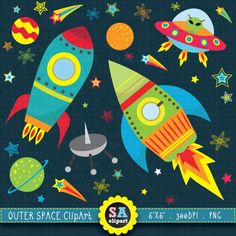 Outer space clipart:OUTER SPACE clip art by SAClipArt on Etsy