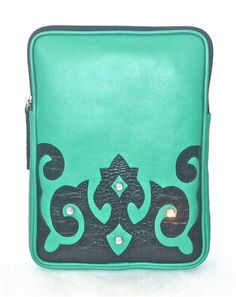 """Cofi Case - Western Tablet/eBook CoFi Case - Wyoming, $99.99 (http://store.coficase.com/tablet-ebook-cofi-case-wyoming/) Turquoise Leather Tablet Case with Black Western Design and studs for the iPad, Kindle Fire HD 8.9"""" and other 9""""-10"""" Tablets/eBooks."""