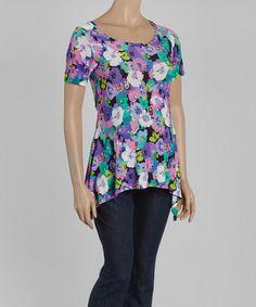 Purple Floral Maternity Sidetail Tunic #zulily #zulilyfinds