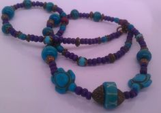 Purple & turtle Purple Turtle, Handmade Necklaces, Beaded Necklace, Jewelry, Beaded Collar, Jewlery, Pearl Necklace, Jewerly, Schmuck