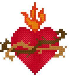 Sacred Heart of Jesus Cross Stitch Pattern // Catholic Cross Stitch Template Learn Embroidery, Cross Stitch Embroidery, Embroidery Patterns, Beading Patterns, Cross Stitch Heart, Modern Cross Stitch, Cross Heart, Heart Of Jesus, Jesus On The Cross