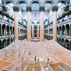 BIG Maze by Big Architects is an 57 feet square and 18 feet high maze that occupies the eastern third of the National Building Museum's Grea...