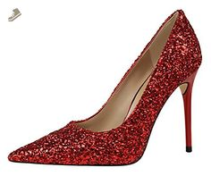 T&Mates Womens Fashion Glitter Sequins Bling Pointy Stiletto High Heel Dress Party Dressy Pumps Shoes (7.5 B(M)US,Red) - Tmates pumps for women (*Amazon Partner-Link)