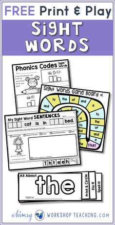 Sight Words Strategies and Resources Free pack of print and play sight word printables!Free pack of print and play sight word printables! The Words, Basic Sight Words, Teaching Sight Words, Sight Word Practice, Sight Word Games, Sight Word Activities, Phonics Activities, Reading Activities, Reading Games