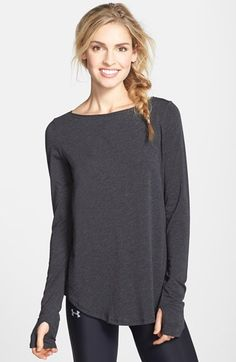 Free shipping and returns on Under Armour 'Transit' Long Sleeve Tee at Nordstrom.com. This loose-cut yoga or training tee feels soft against the skin thanks to a lightweight cotton-modal blend that offers moisture-wicking properties and four-way stretch. Thumbholes in the long sleeves keep warmth in and ensure sleeves won't creep up during your workout.