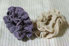 バイアスフリル風シュシュ_かぎ針編み