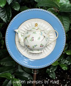 Teapot plate flower by Garden Whimsies by Mary