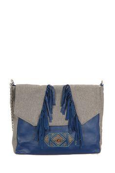 f7ad336913 Sac besace toile et cuir frangé Anoki Bleu Folklo By Ka sur MonShowroom.com