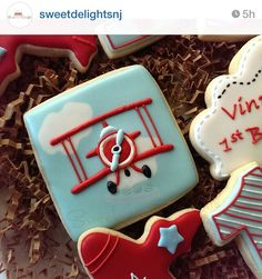 airplane cookies | bi-plane | clouds | Red Baron Cookies For Kids, Fancy Cookies, Iced Cookies, Cute Cookies, Royal Icing Cookies, Sugar Cookies, Airplane Cookies, Cookie Designs, Cookie Ideas